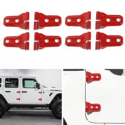 Red Door Hinge Trim Cover for Jeep Wrangler JL 4-Door 2020 Up (Pack of 8): Automotive
