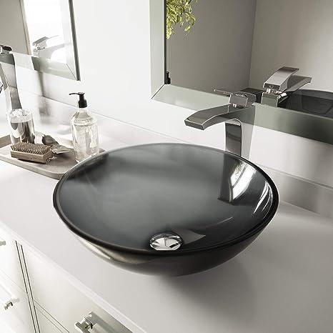Vigo VG07042 Lavabo De Encimera Para Baño De Vidrio, Negro: Amazon.com.mx:  Herramientas Y Mejoras Del Hogar