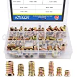 Glarks 95Pcs Zinc Alloy Hex Flanged Screw-in Nut Hex Socket Drive Threaded Insert Nuts Assortment Set For Wood Furniture