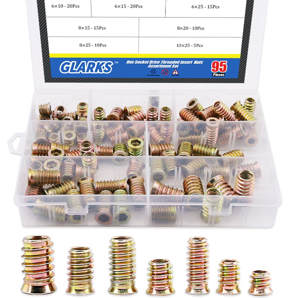 Color-Zinc Plated Internal Threads Furniture Screw Hex with a Gift Hex Spanner Maexxna 50pcs Threaded Insert for Wood 1//4-20 Internal Hex and 5//8 in Length
