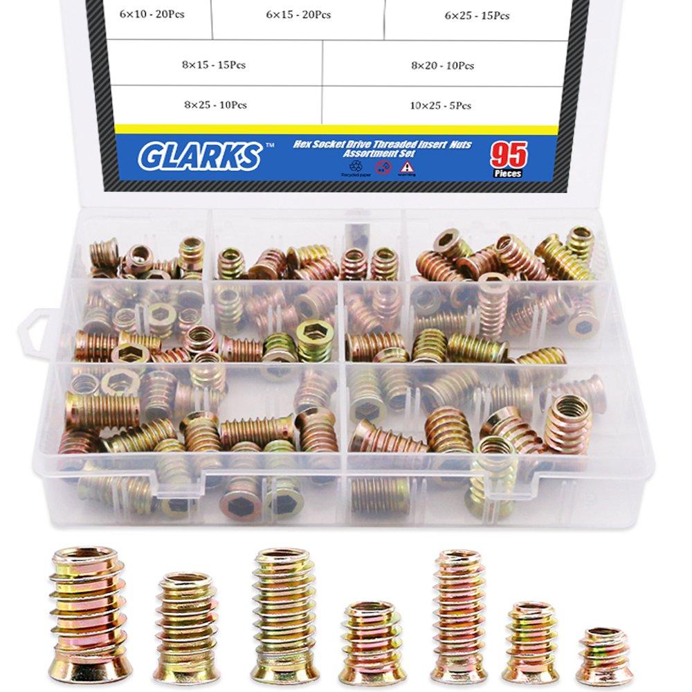 Glarks 95Pcs Zinc Alloy Hex Flanged Screw-in Nut Hex Socket Drive Threaded Insert Nuts Assortment Set For Wood Furniture