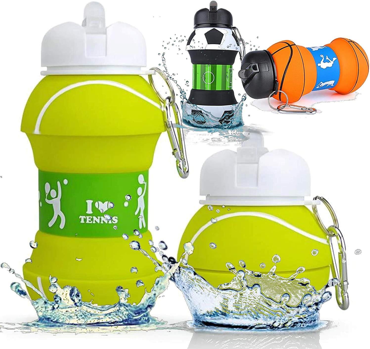 Botella Agua Silicona Diseño Tenis y Deporte - Niños, Niñas y Adultos- Plegable - Libre de BPA - Muy Resistente - Agua Limpia y Pura - 550ml