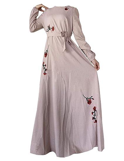 8a2fbfb5e3 zhbotaolang Women Abaya Dress Kaftan Gown - Lady Plus Size Muslim Embroidery  Floral Maxi Dress Long Sleeve Elegant Cocktail Robe (M-4XL)  Amazon.co.uk   ...