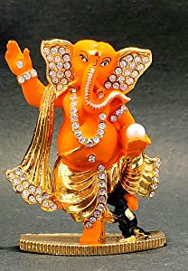 "Sawcart 2.5"" Lord Ganesha/Ganpati Small Statue Decorative Puja Idol Figurine Sculpture Hindu God of Success, Prosperity, Good Luck & Fortune for Temple, Car Dashboard & Home Décor (Multicolor)"