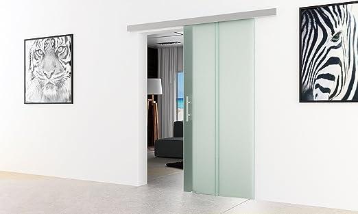 Puerta corredera de rayas de vidrio - Vertical | Dimensiones: 900 x 2050 mm | Alu-standard-corredor | Tirador de barra, todo con protector de pantalla de fabricante LEVIDOR muy de carrera tranquila