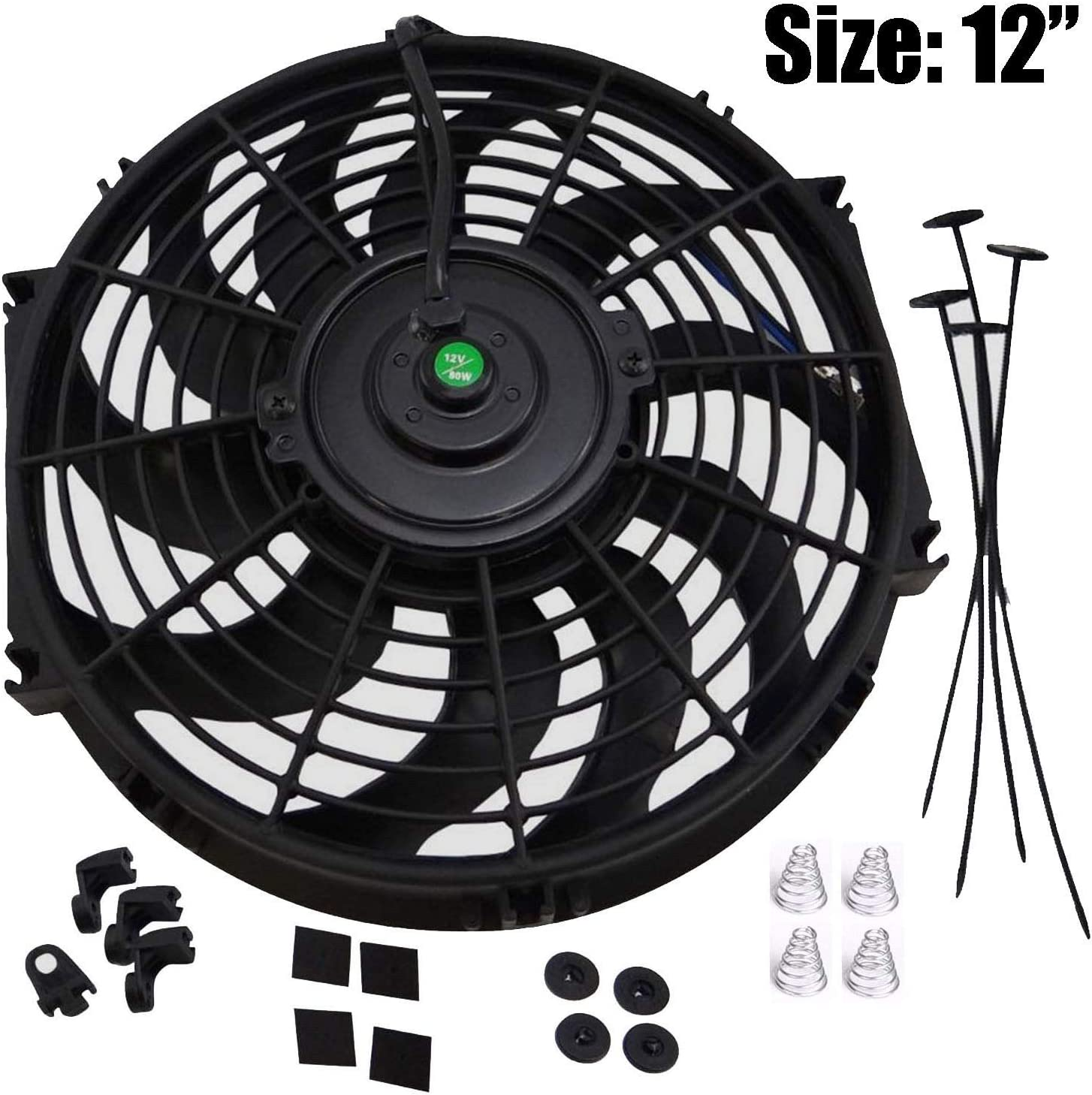 "LTI Universal High Performance S Blade Pull/Push 12V Slim Electric Cooling Radiator Fan + Fan Mounting Kit (12"", Black)"