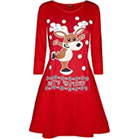 Womens Long Sleeve Snowman Reindeer Santa Face Christmas Swing Mini Dress