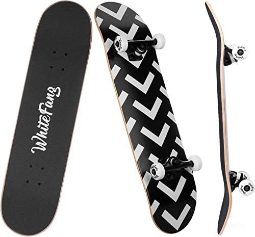 WhiteFang Skateboards for Beginners, Complete Skateboard 31 x 7.88, 7 Layer Canadian Maple Double Kick Concave Standard and Tricks Skateboards for Kids and Toddles