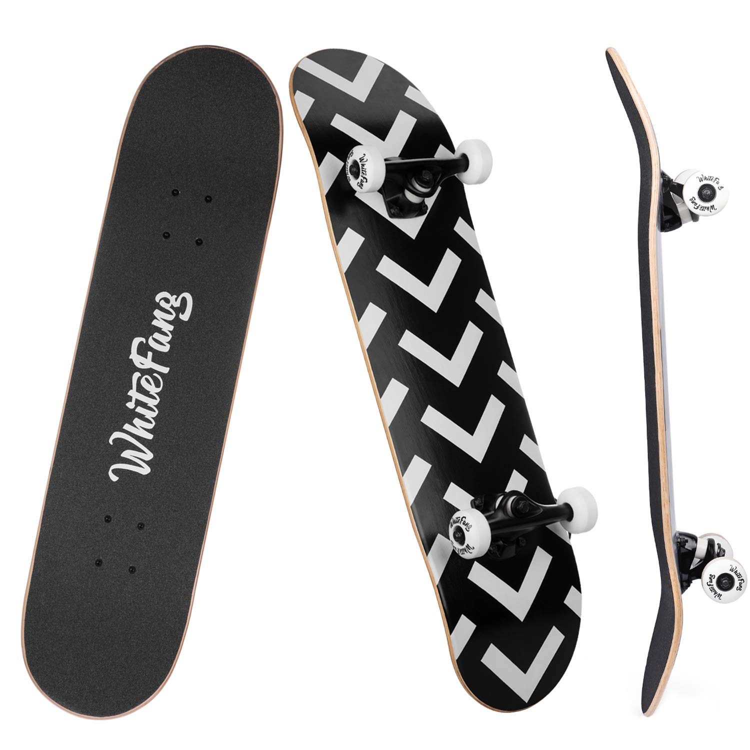 WhiteFang Skateboards for Beginners, Complete Skateboard 31 x 7.88, 7 Layer Canadian Maple Double Kick Concave Standard and Tricks Skateboards for Kids and Beginners