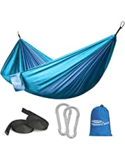 Forbidden Road Hammock Single & Double Camping Portable Parachute Hammock for Outdoor Hiking Travel Backpacking - 210D Nylon Taffeta Hammock Swing (Dark Bule & Baby Blue)