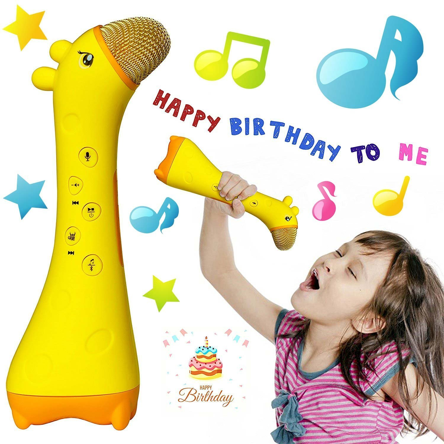 Tikeda Magic Kids microphone Built-in Songs Best 2017 Wireless bluetooth karaoke Toy for Children 0 - 12 year old to develop intelligence cool birthday/Christmas gifts presents– Yellow giraffe