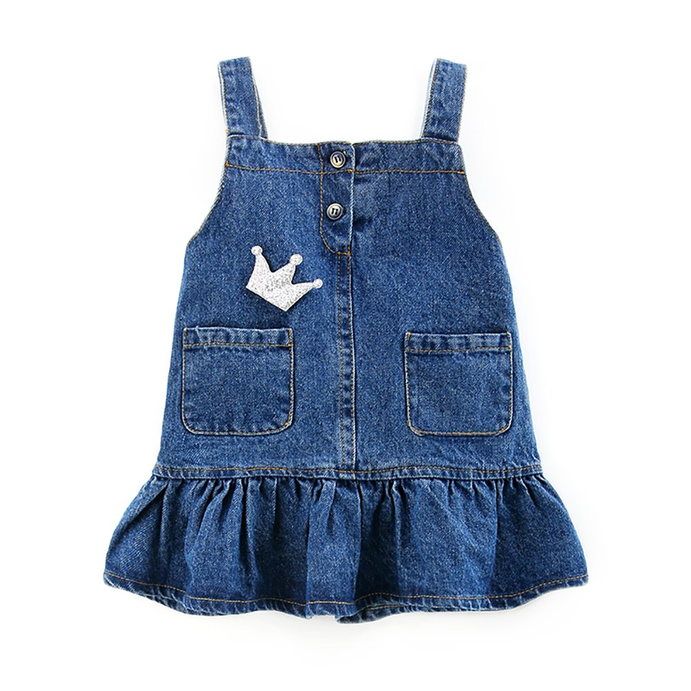Motteecity Girls Clothes Adorable Cartoon Embroidered Denim Overall Skirt 2T