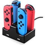 【Nintendo Switch対応】Joy-Con充電スタンド Siensync 4台同時充電 Joy-Conコントローラー充電器 急速充電 充電指示ランプ付き 2USBポート 充電ステーション 携帯便利 縦置き ブラック