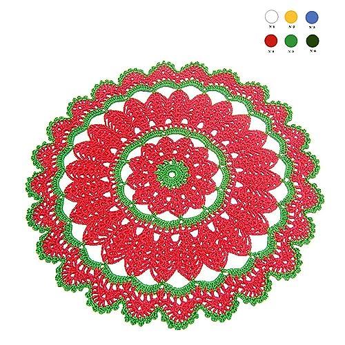 Tapete de ganchillo redondo rojo y verde para Navidad - Tamaño: ø ...