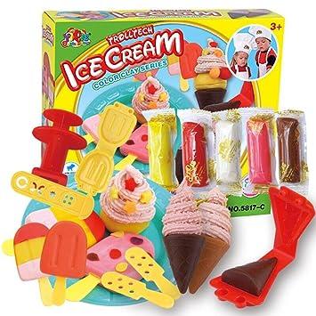 Molde de Helado Hacer Herramientas Juguetes Juego de cocina para niños niñas,Set plastilina heladería: Amazon.es: Juguetes y juegos
