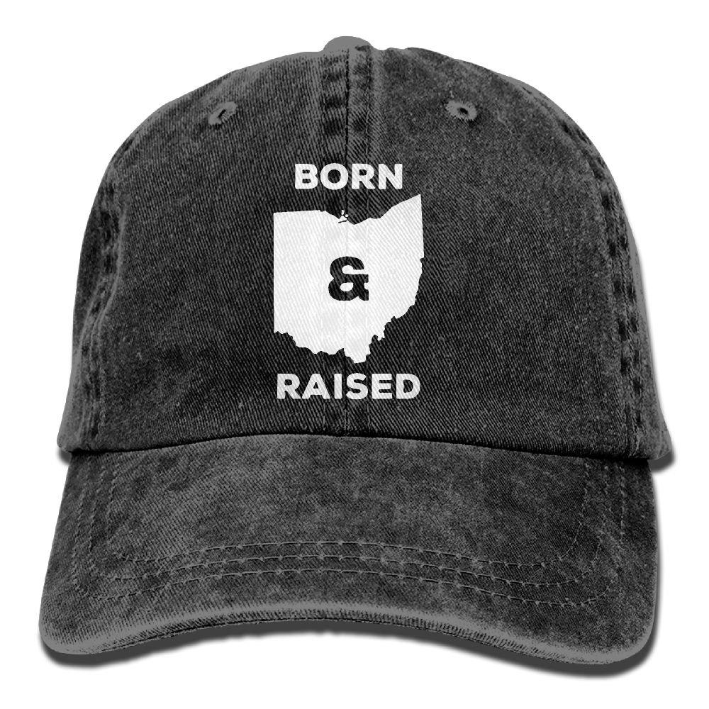 Men's/Women's Ohio Born and Raised State Denim Fabric Baseball Cap Adjustable Trucker Cap