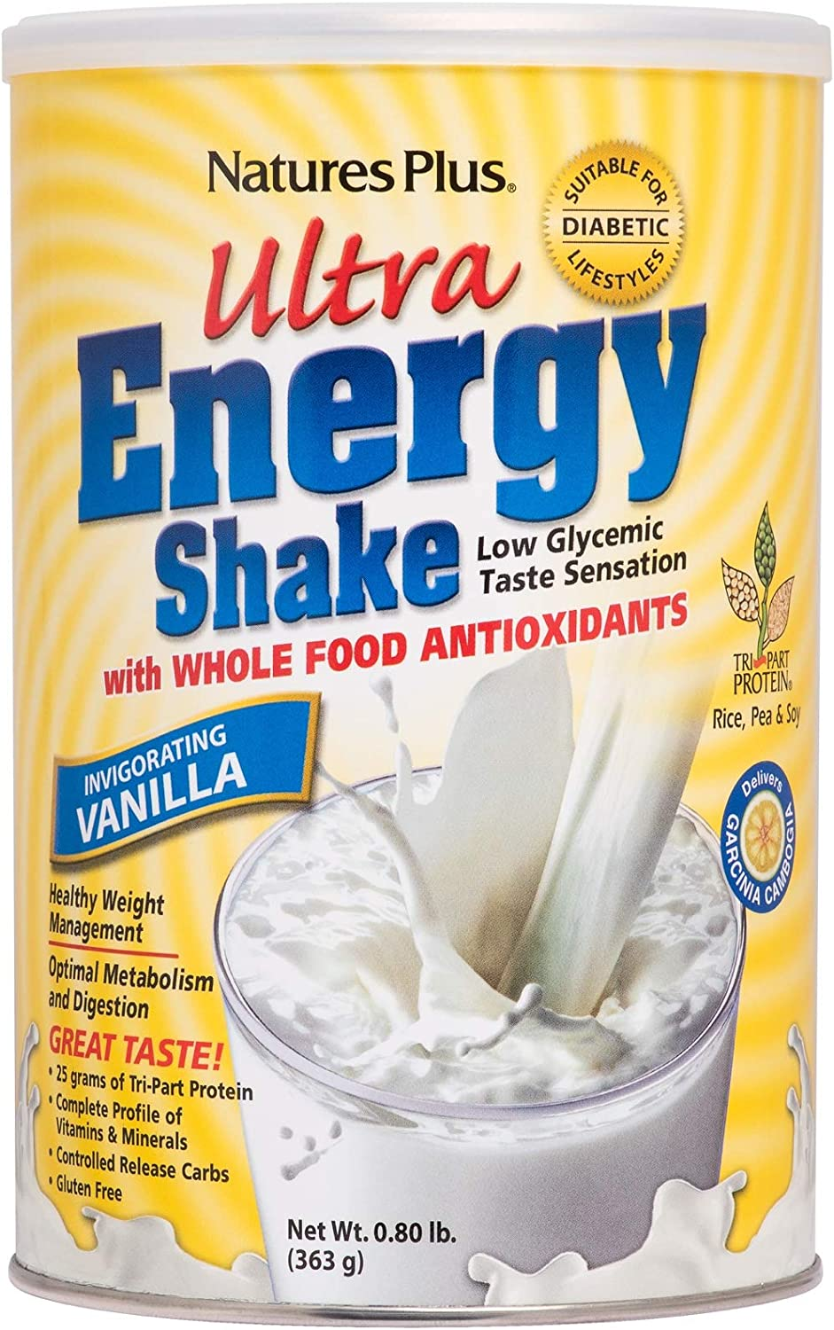 NaturesPlus Ultra Energy Shake – .8 lbs, Vegetarian Protein Powder – Vanilla – Plant-Based – Supports Weight Management, Low-Glycemic Diets Healthy Blood Glucose – Gluten-Free – 11 Servings