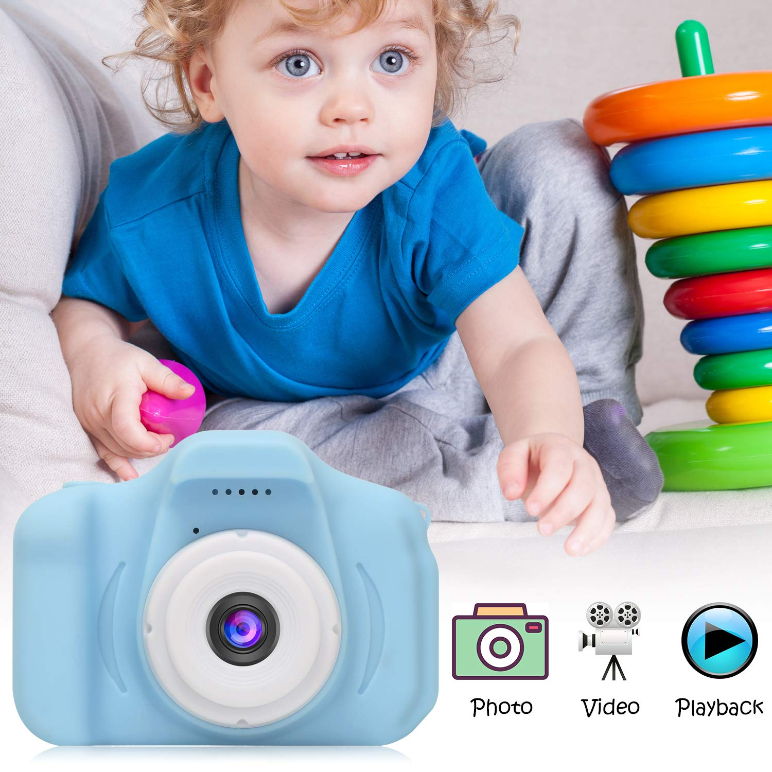 DDGG Kids Digital Camera Toy Camera HD Kids Video Cameras Shockproof Cameras with Soft Silicone Shell Gift for 4-10 Years Old Girls Boys Party Outdoor Play (16G SD Card Included) by DDGG (Image #6)