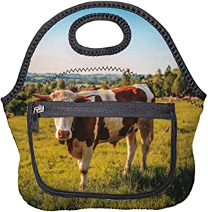 Neoprene Lunch Bag Agriculture Animal Bull Cattle Insulated Picnic Tote Boxes Backpack for Women Men Kids Pocket Style with Zipper