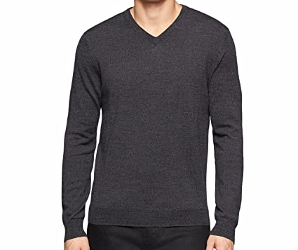 b77dac1d256c Calvin Klein Men's 100% Merino Wool Classic Fit Solid V-Neck Sweater (Small
