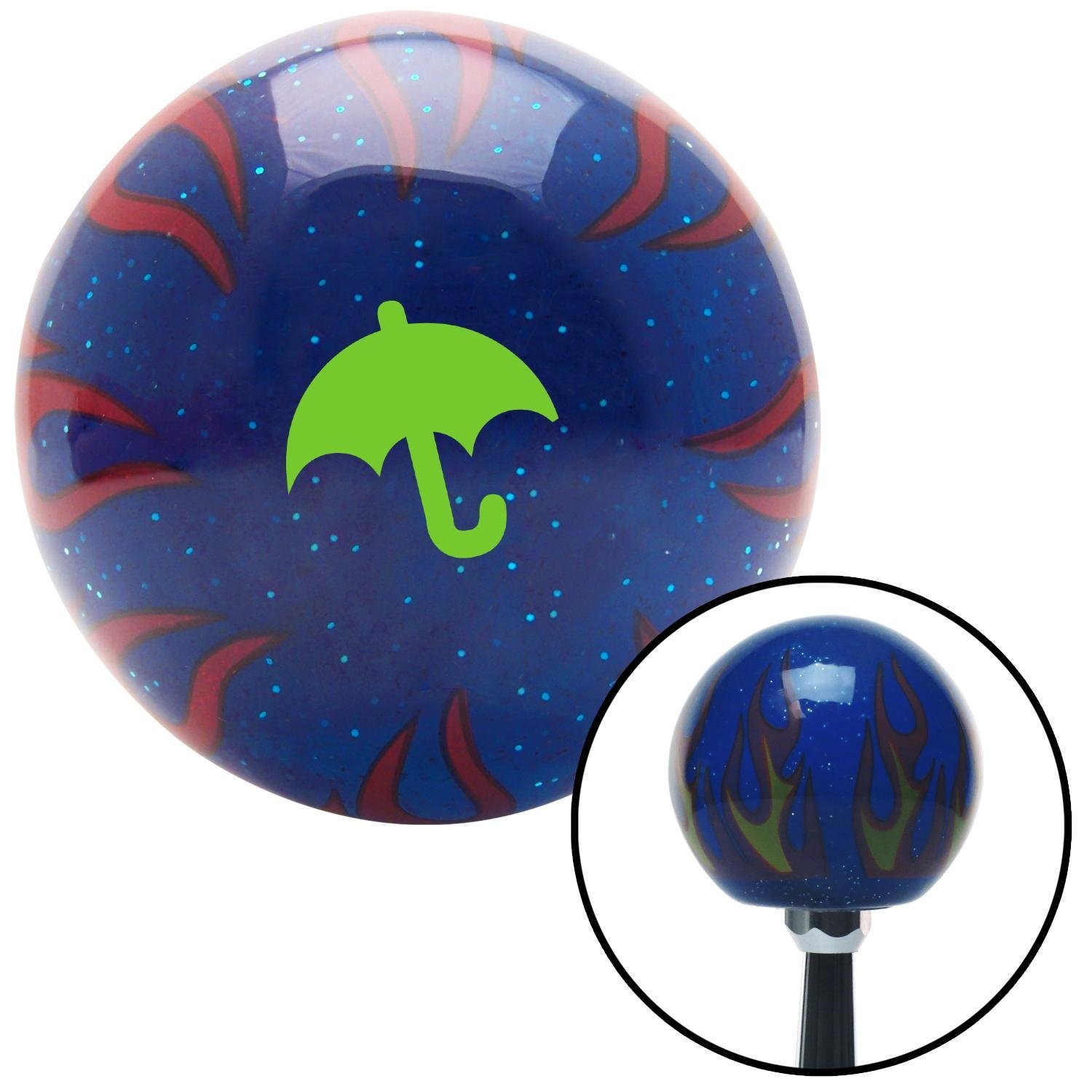 Green Umbrella Blue Flame Metal Flake with M16 x 1.5 Insert American Shifter 297944 Shift Knob