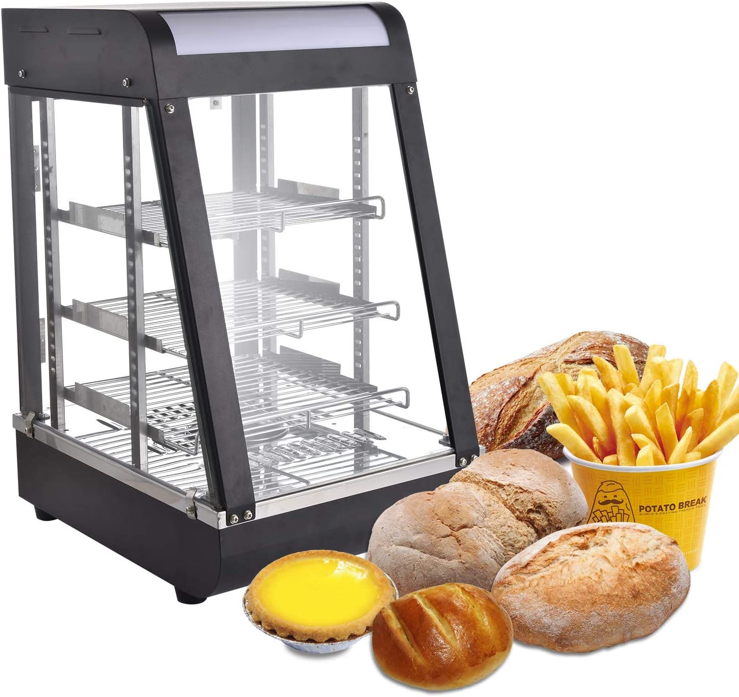 Peitten 15 inch Commercial Food Warmer   Food Countertop Heated Cabinet   Stainless Steel Display Showcase with 3 Tier Shelves for Catering Restaurant Pizza Empanda Pastry Patty (Food Warmer, 15 inch)