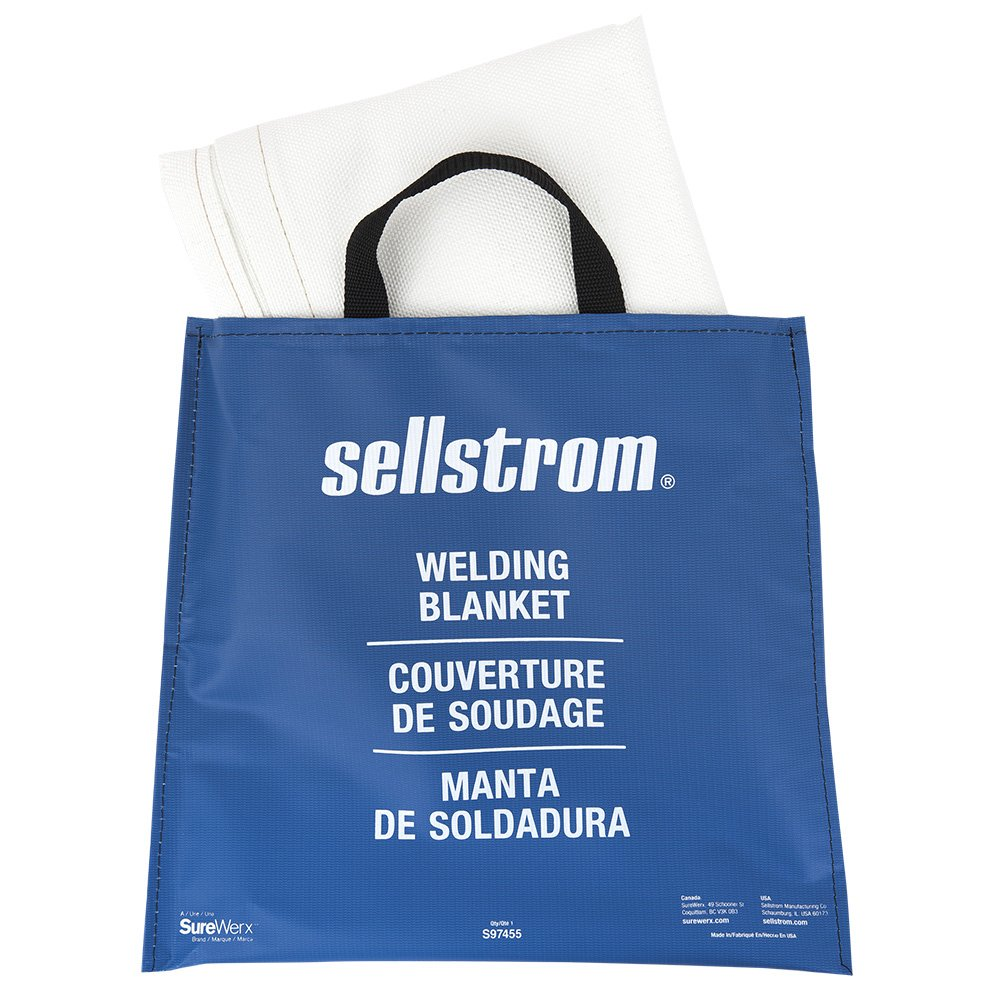 White 6/' Length x 5/' Width Sellstrom Manufacturing Company S97455 Sellstrom 97455 Fiberglass High Temperature Resistant Welding Blanket with Blue Vinyl Handle Bag 6 Length x 5 Width