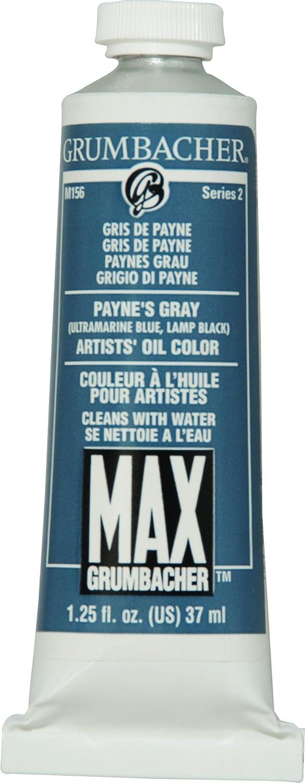 Grumbacher Max Water Miscible Oil Paint, 37ml/1.25 oz, Payne's Gray Payne' s Gray M156