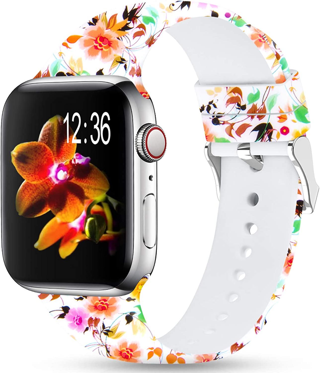 Merlion Compatible With Apple Watch Band 38mm 42mm 40mm 44mm For Women/Men,Silicone Fadeless Pattern Printed Replacement floral Bands for iWatch Series 4/3/2/1