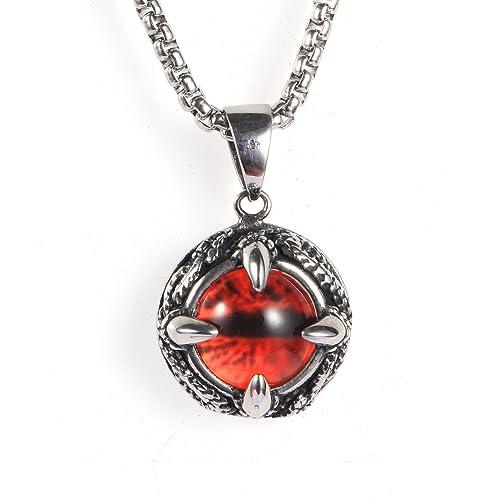 a530bcf84cd2 Aeici Rojo Collar para Hombres Diseño Unico Gema de Garra del Dragón   Amazon.es  Joyería