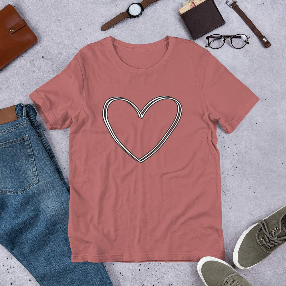 Barking At A Boutique Heart Valentines Day Short-Sleeve Unisex T-Shirt Mauve