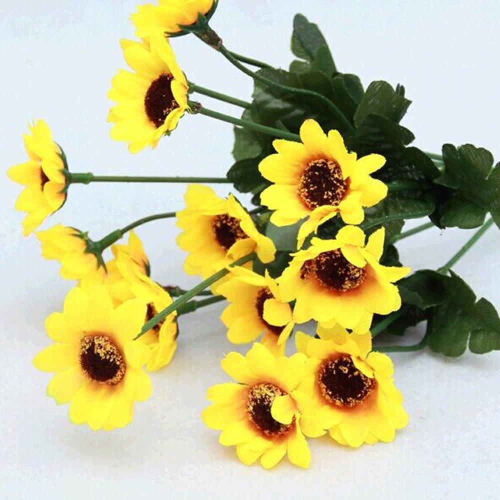 14 cabezas falsas flores de girasol YCANK Ramo de flores artificiales de seda ramo para el hogar decoraci/ón de jard/ín