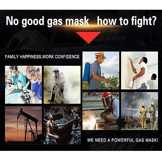 ACLBB Máscara Facial De Gas, Respirador De Vapor Orgánico con 4 Respiradores De Carbón Activado, Formaldehído/Pintura En Aerosol/Químico / Pesticida/Fuego: ...