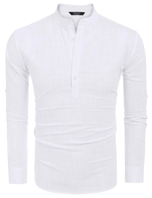COOFANDY Men Premium Henley Neck Linen Shirts Casual Long Sleeve Basic Shirts