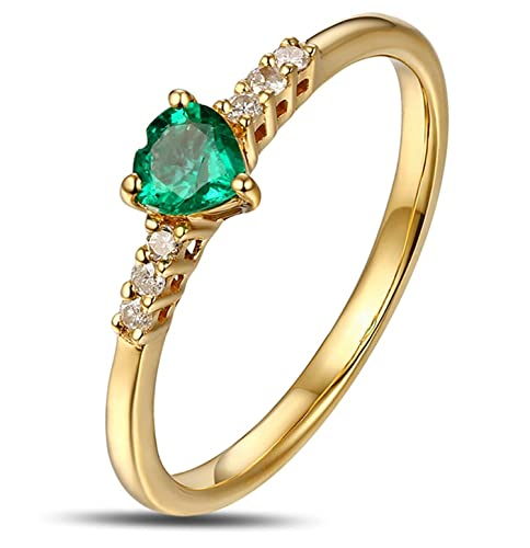 Amazon.com: Epinki 18k Gold Ring for Women Heart Ring Proposal Marriage Ring Diamond with White Green Emerald Ring: Jewelry