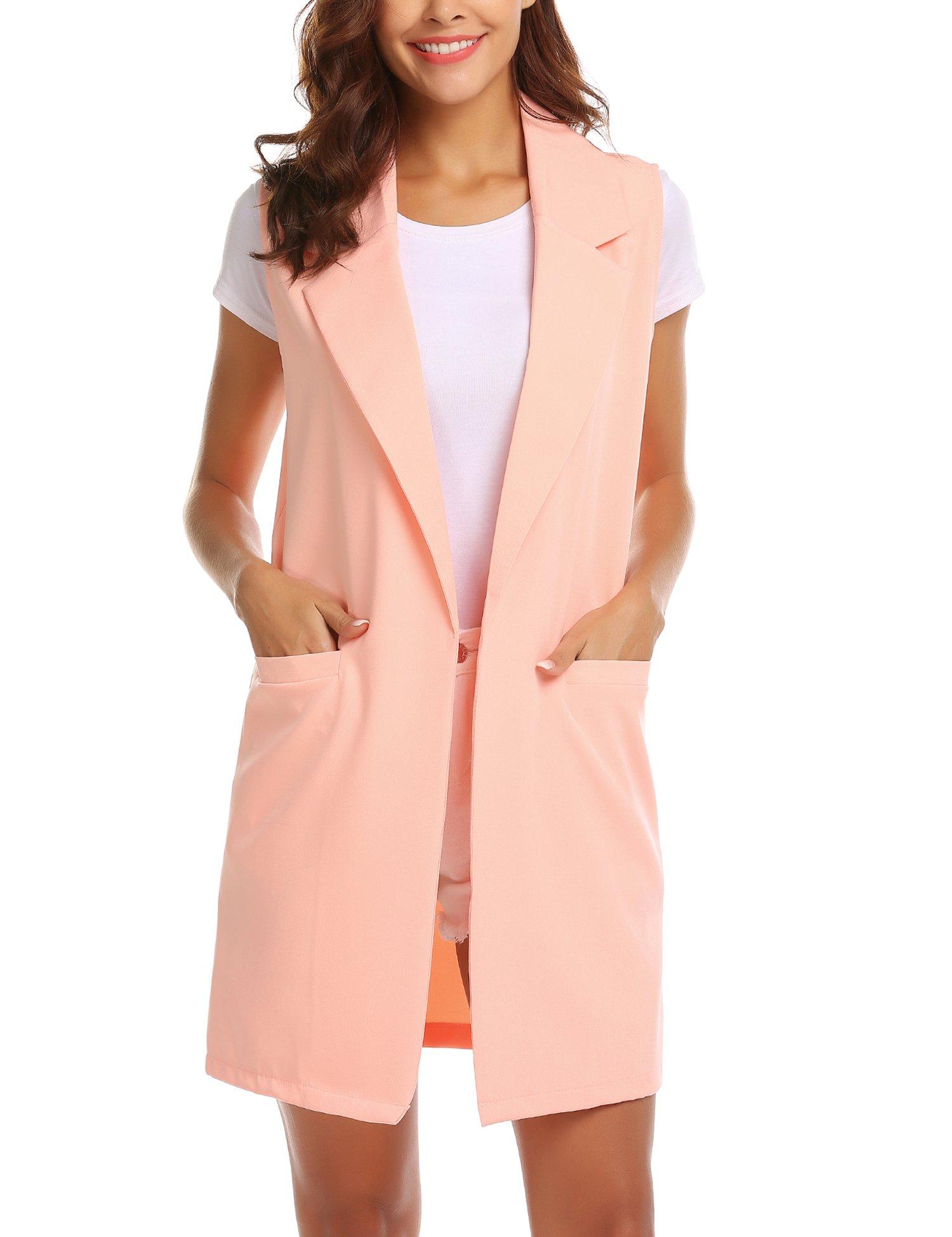 Showyoo Women's Long Sleeveless Duster Trench Vest Casual Lapel Blazer Jacket Pink XXL