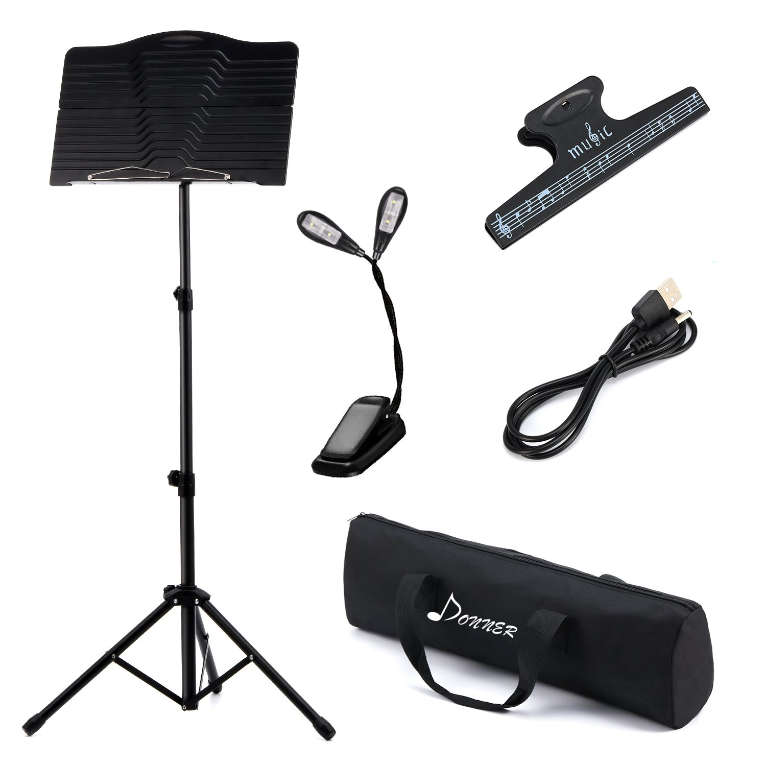 Donner Sheet Music Stand DMS-1 Folding Travel Metal Music Stand With Carrying Bag by Donner