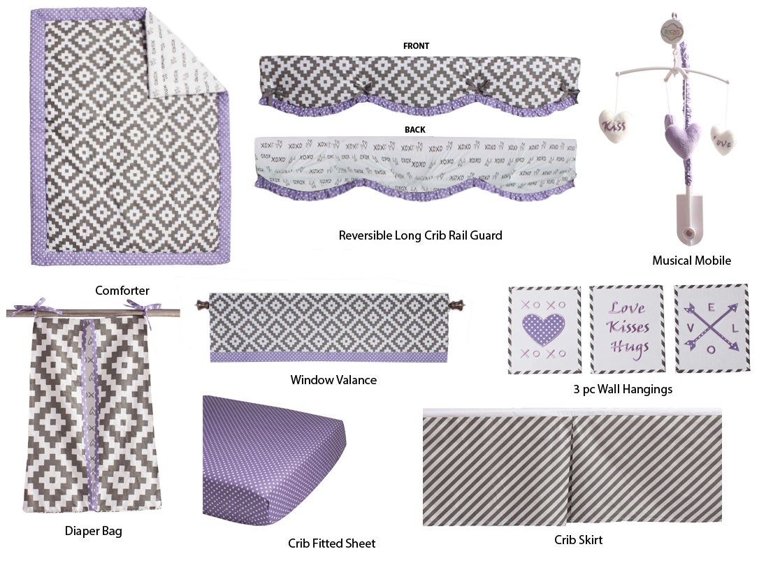 Bacati Love 10 Piece Crib Set Percale Fabrics with Long Side Rail Guard, Grey/Lilac