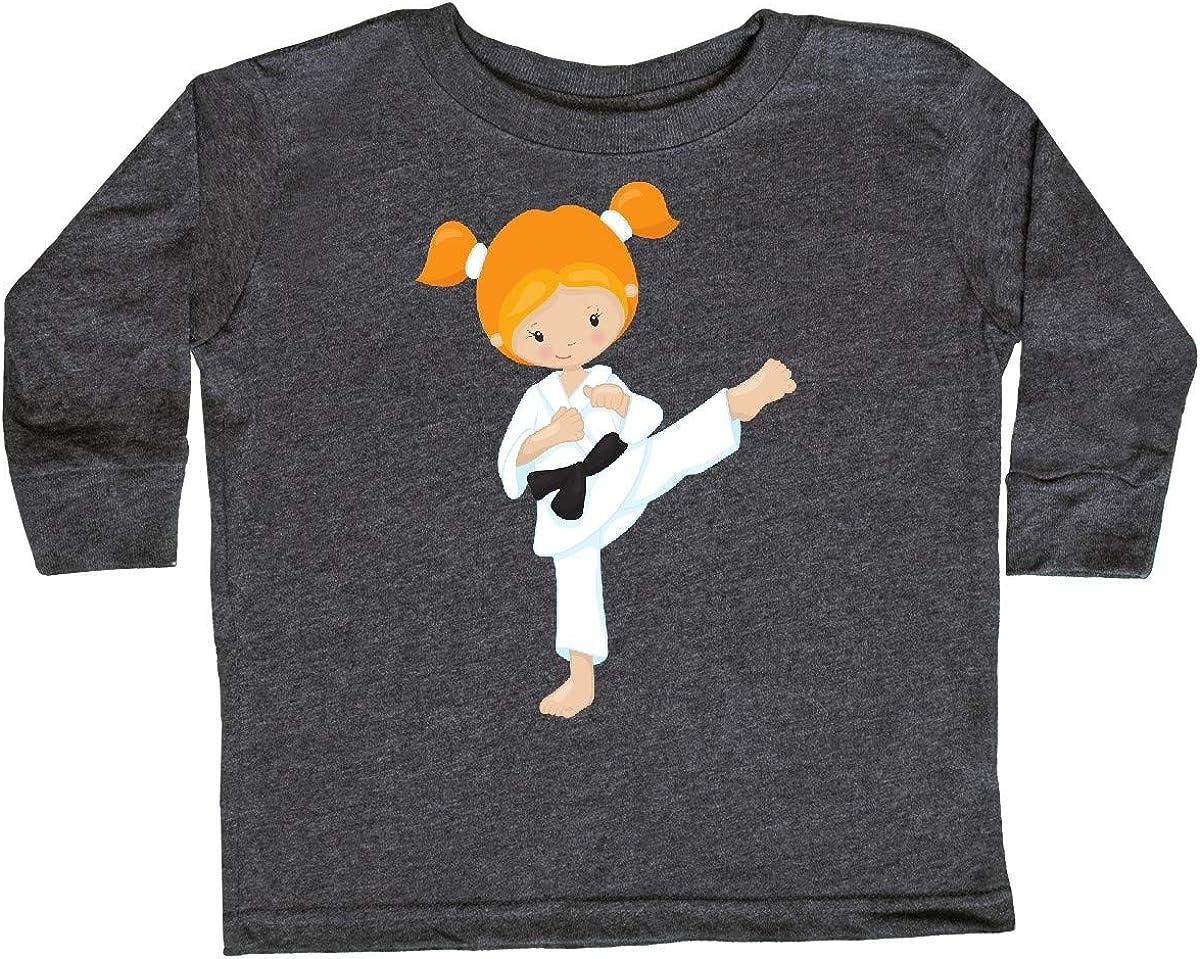 Orange Hair Karate Pose Black Toddler Long Sleeve T-Shirt inktastic Cute Girl