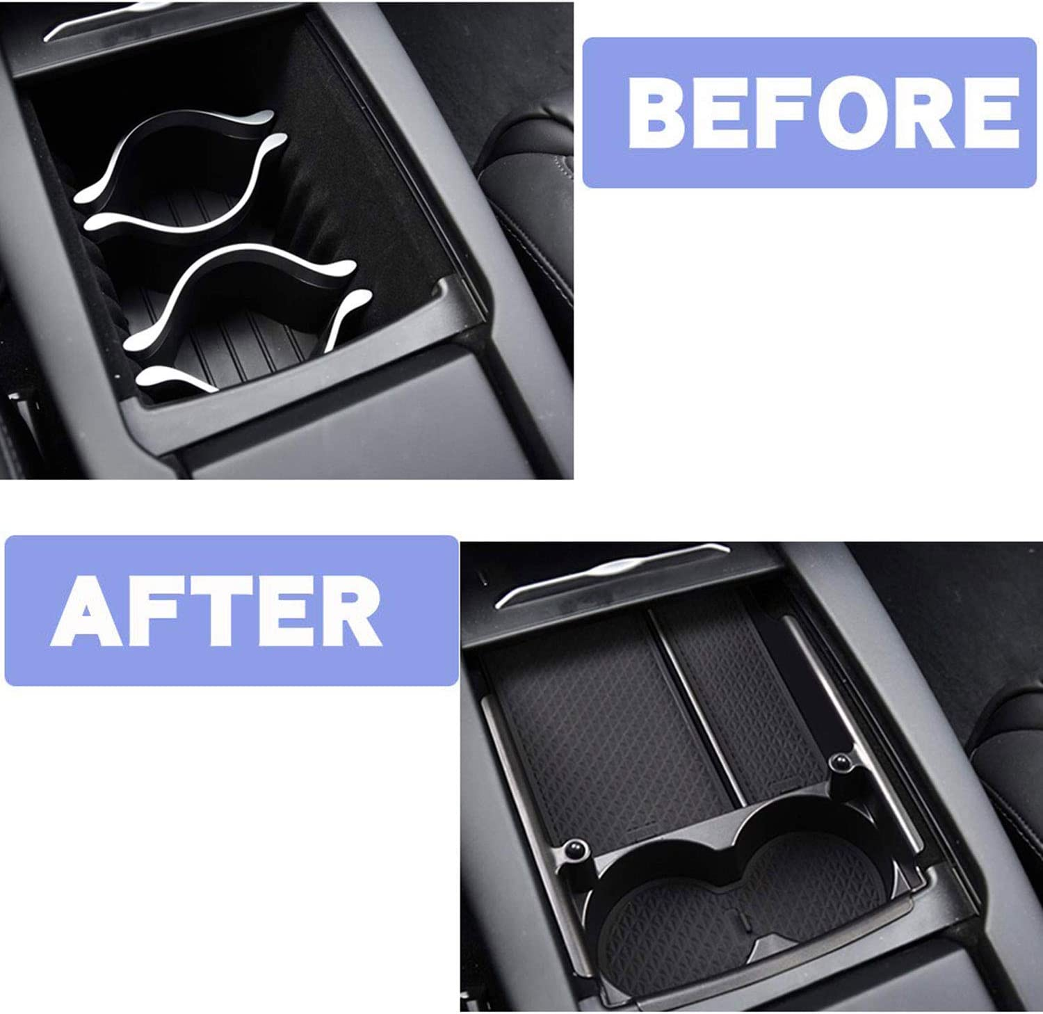 Wadoy Center Console Organizer Replacement for Tesla Model S X 2016 2017 2018 Armrest Storage Box with Cup Holder
