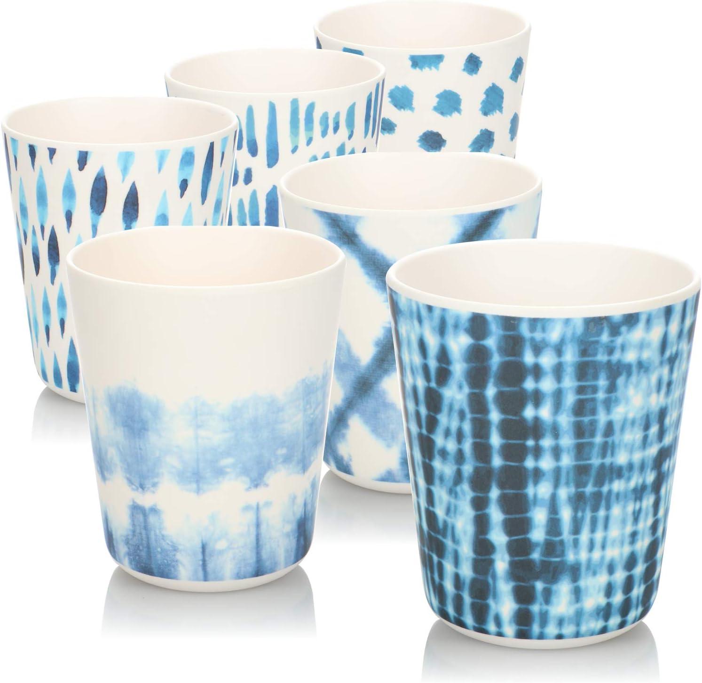 bicchieri di plastica in melamina COM-FOUR/® 6x Bicchieri in melamina infrangibili bicchieri multifunzionali con diversi modelli di pressione la selezione varia