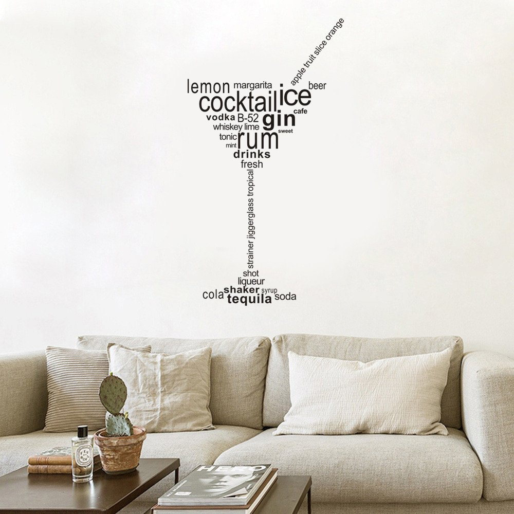 Amazon.com: Cocktail Ice Gin Rum Wall Stickers Removable Art ...