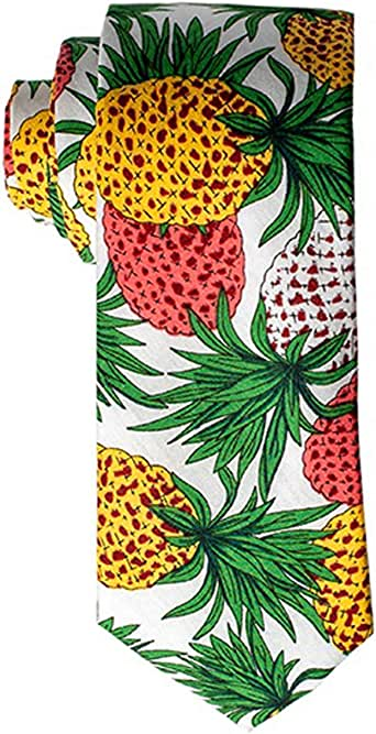 """Lovacely Men's Polyester Chiffon Printed Floral Ties 2.76"""" Summer Tropical Plant Design Necktie"""