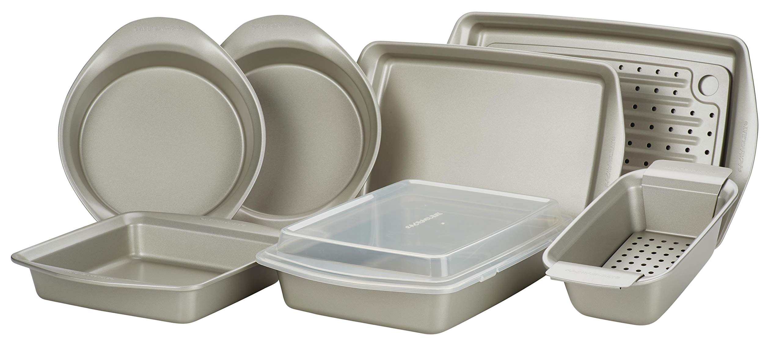 Rachael Ray Nonstick Bakeware Set, 10-Piece, Silver