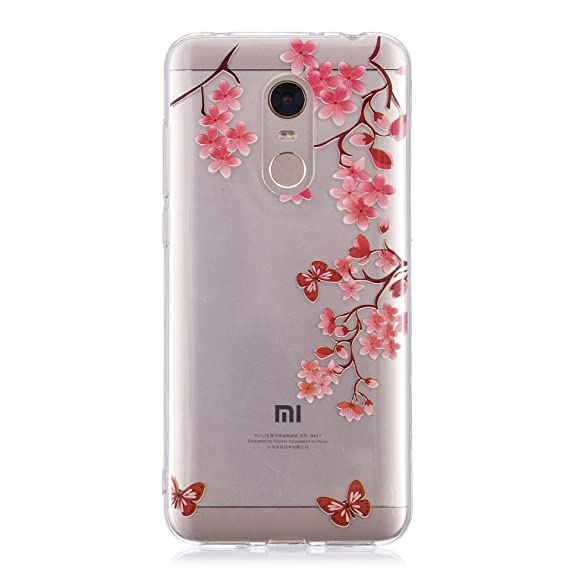 100% authentic 2f809 067c7 Xiaomi Redmi 5 Plus case, Clear Design Printed Transparent Hard Case with  TPU Bumper Protective Back Case Cover for Xiaomi Redmi 5 Plus (Peach ...