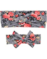 Laimeng Mom And Baby Rabbit Ears Elastic Bowknot Headband Set (Gray)