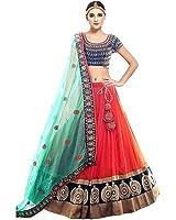 Salwar Style Women's Banglori Silk Embroidered Semi-stitched Lehenga Choli (D26SS_Orange and Blue_Free Size)