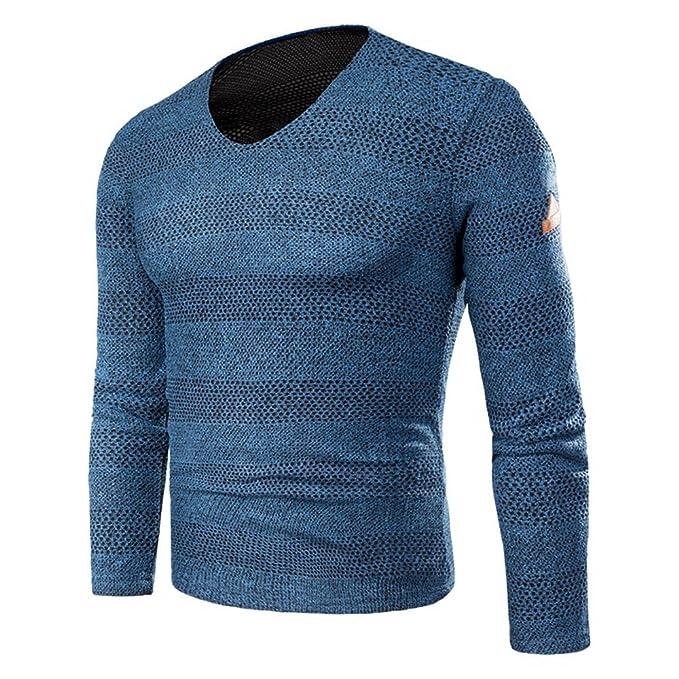 Details zu Herren Pullover V Neck Longsleeve Feinstrick Streifen V Ausschnitt Shirt Neu