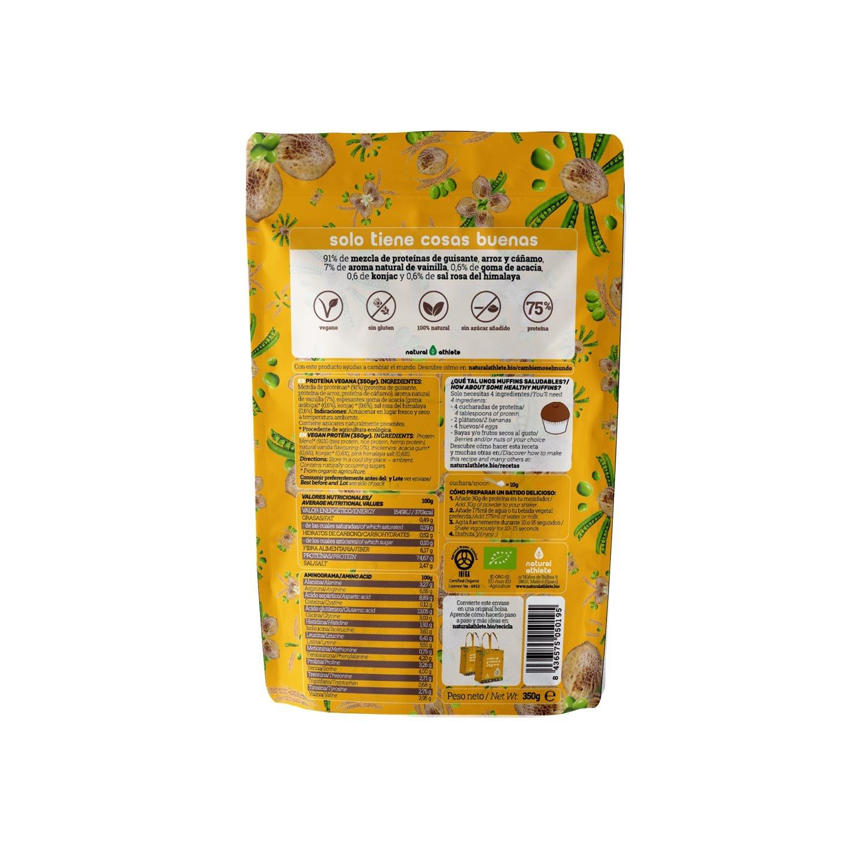 Proteína Vegana Vainilla Natural Athlete, 72% Proteína, 100% Natural Sin Azúcar Añadido, Sin Gluten, Sin Lactosa -350g