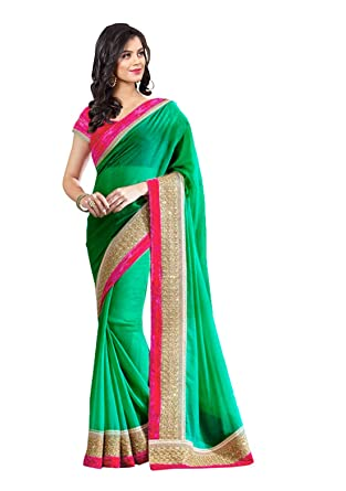 418ac86e4b54e Anshika Lifestyle Solid Bollywood Georgette Saree with Blouse Piece.   Amazon.in  Clothing   Accessories